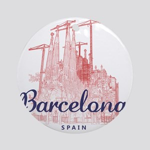 Barcelona_7x7_LaSagradaFamilia_Brow Round Ornament