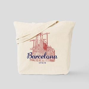 Barcelona_7x7_LaSagradaFamilia_BrownBlue Tote Bag