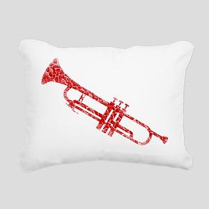 distressed trumpet red Rectangular Canvas Pillow