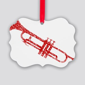 distressed trumpet red Picture Ornament