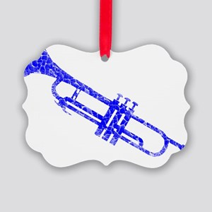 distressed trumpetbluen Picture Ornament
