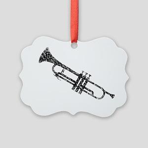 distressed trumpet blk Picture Ornament