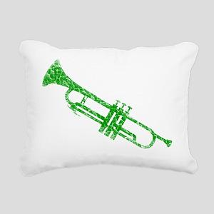 distressed trumpet green Rectangular Canvas Pillow