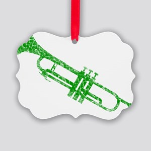distressed trumpet green Picture Ornament