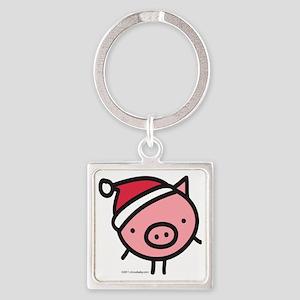 pig_santa Square Keychain