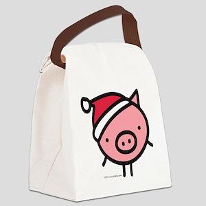 pig_santa Canvas Lunch Bag