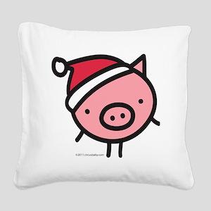 pig_santa Square Canvas Pillow