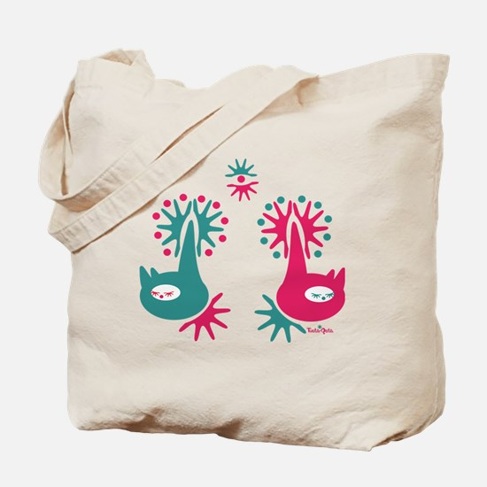 cat-garden-red-green Tote Bag