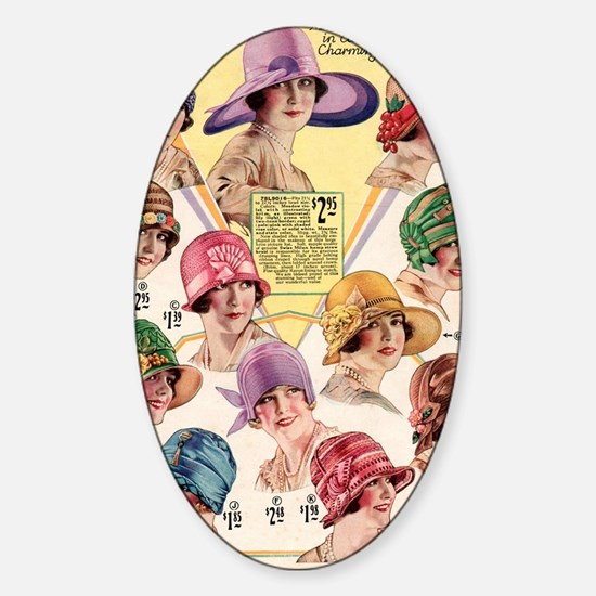20s hats Sticker (Oval)