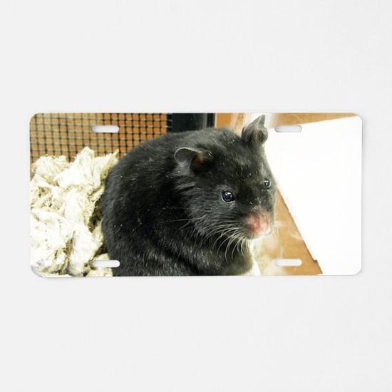 Black Hamster Aluminum License Plate