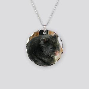 Black Hamster Necklace Circle Charm