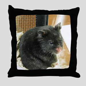 Black Hamster Throw Pillow