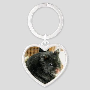 Black Hamster Heart Keychain