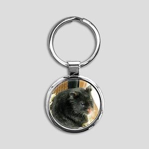 Black Hamster Round Keychain