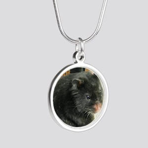 Black Hamster Silver Round Necklace