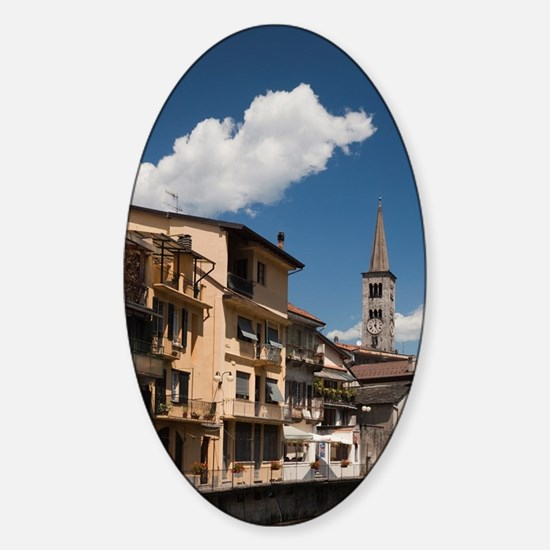 Omegna. Buildings along Torrente Ni Sticker (Oval)