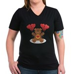 Teddy Bear Women's V-Neck Dark T-Shirt