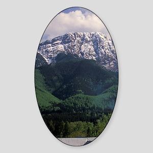Zakopane. View of chalet and Tatra  Sticker (Oval)