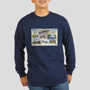 Omaha Nebraska (Front) Long Sleeve Dark T-Shirt