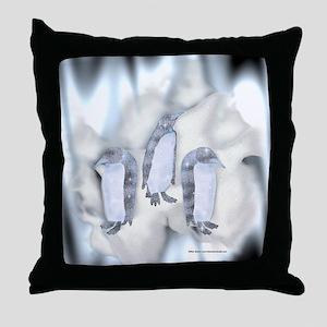 Frozen Penguins Throw Pillow