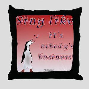 Penguin Sings Throw Pillow