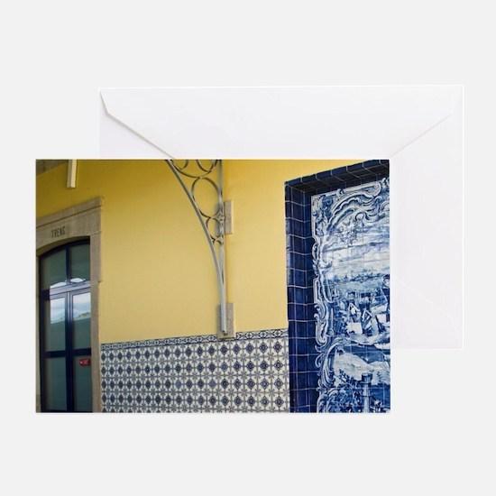 Porto. Azulejos depicting the grape  Greeting Card