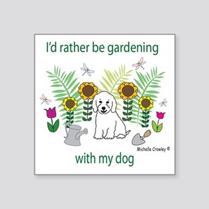 "GardeningDogCockapooWt Square Sticker 3"" x 3"""