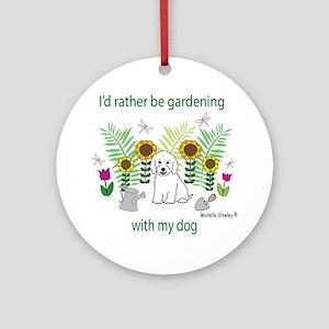 GardeningDogCockapooWt Round Ornament