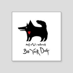 "dog no background black Square Sticker 3"" x 3"""