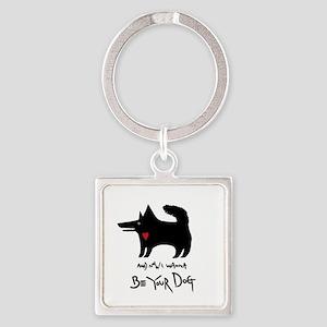 dog no background black Square Keychain