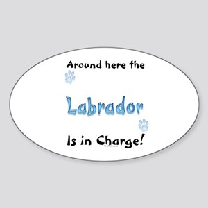 Labrador Charge Oval Sticker