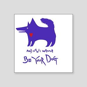 "dog notebook design Blue co Square Sticker 3"" x 3"""