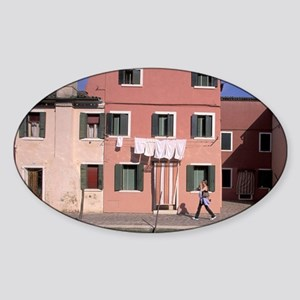 Europe, Italy, Venice, Colorful hou Sticker (Oval)