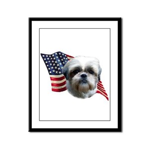 Shih Tzu Flag Framed Panel Print