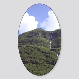 View from Flam Railway, Flamsbanna  Sticker (Oval)