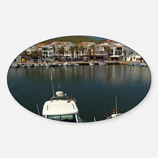 Fishing village of Fornells on the  Sticker (Oval)