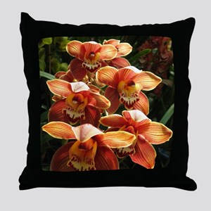 OrangeOrchidaceae Throw Pillow
