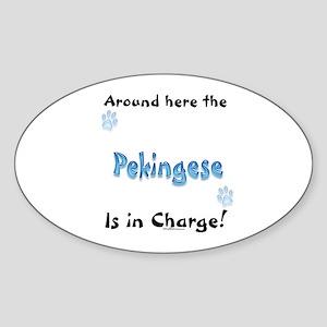 Pekingese Charge Oval Sticker