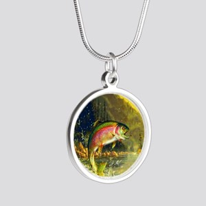Rainbow Trout Jumping Silver Round Necklace