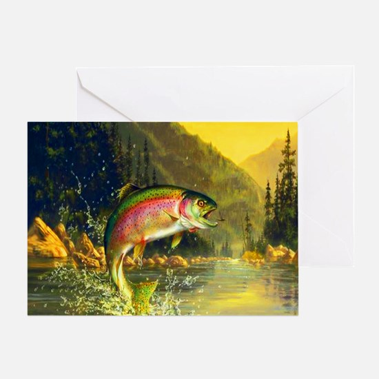 Rainbow Trout Jumping Greeting Card