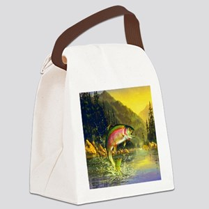 Rainbow Trout Jumping Canvas Lunch Bag
