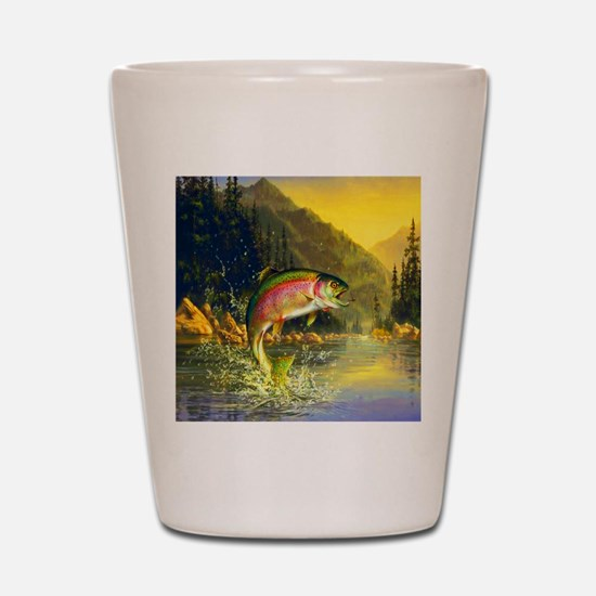 Rainbow Trout Jumping Shot Glass