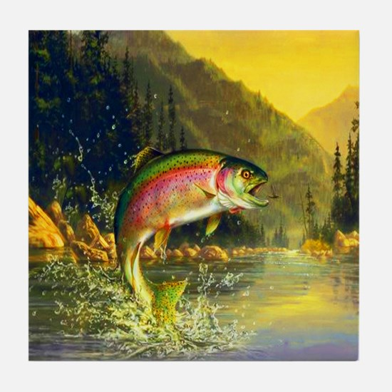 Rainbow Trout Jumping Tile Coaster