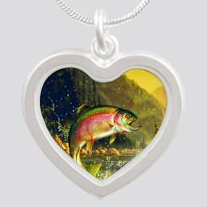 Rainbow Trout Jumping Silver Heart Necklace