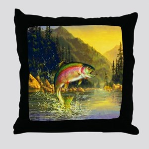 Rainbow Trout Jumping Throw Pillow