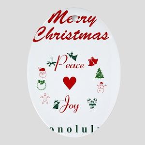 Honolulu_5x7_Christmas Stocking_Peac Oval Ornament