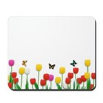 Tulip Flowers and Butterflies Mousepad