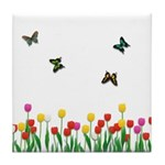 Tulip Flowers and Butterflies Tile Coaster