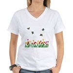 Tulip Flowers and Butterflies Women's V-Neck T-Shi