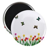 Tulip Flowers and Butterflies Magnet
